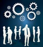 Schattenbilder von Geschäftsleuten mit Gangkonzept lizenzfreie abbildung