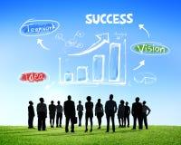Schattenbilder von Geschäftsleuten und von Erfolgs-Konzepten Stockfotografie