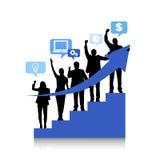 Schattenbilder von Geschäftsleuten und von Erfolgs-Konzepten Lizenzfreie Stockfotografie