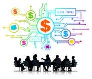 Schattenbilder von Geschäftsleuten und von globalem Finanzkonzept Stockbilder