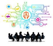 Schattenbilder von Geschäftsleuten und von Versicherungs-Konzepten Lizenzfreies Stockbild