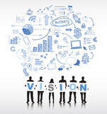 Schattenbilder von Geschäftsleuten und von Visions-Konzept Stockfotografie