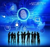 Schattenbilder von Geschäftsleuten und von Sicherheits-Konzepten Stockfoto