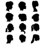 Schattenbilder von hairdresses Stockfotografie