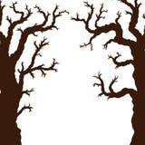 Schattenbilder von Halloween-Bäumen, bloßer gespenstischer furchtsamer Halloween-Baum Stockfotografie