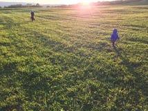 Schattenbilder von Leuten bei Sonnenuntergang stockbild