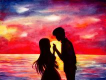 Schattenbilder von Liebhabern bei Sonnenuntergang lizenzfreie abbildung