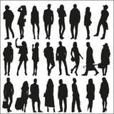 Schattenbilder von modernen Männern und von Frauen Stockfoto