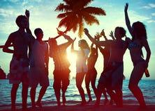 Schattenbilder von verschiedenem multiethnischem Leute Partying Stockbild
