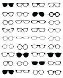 Schattenbilder von verschiedenen Brillen lizenzfreie abbildung