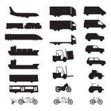 Schattenbilder von verschiedenen Fahrzeugen Stockbild