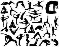 Schattenbilder von Yoga Stockbilder
