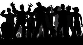 Schattenbilder von Zombies und von Finanzanzeigen Lizenzfreies Stockfoto