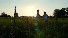 Schattenbilder, Zahlen von Kindern, Junge und Mädchen, die, den Spaß habend springt und tanzen vor dem hintergrund der Sonne, bei stock video