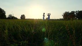 Schattenbilder, Zahlen von Kindern, Junge und Mädchen, die, Spaß, Tanzen habend springt und umarmen vor dem hintergrund der Sonne stock video footage