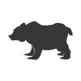 Schattenbildfleischfresserikone des wilden Tieres des Bären Dekorativer Hintergrund als stilisiert Strudel der Wellen Lizenzfreie Stockfotografie