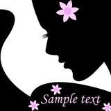 Schattenbildfrau für Text. Vektorabbildung. Stockfoto