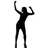 Schattenbildfrauen-Tänzertanzen in voller Länge Stockfotografie