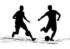 Schattenbildfußballspieler, die den Ball schlagen Vektor Stockbild