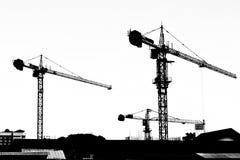 Schattenbildkran-Funktionsgebäude Lizenzfreies Stockfoto