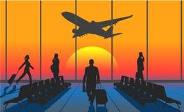 Schattenbildleute in einem Flughafen stock abbildung