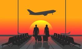 Schattenbildleute in einem Flughafen vektor abbildung