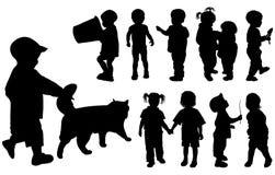 Schattenbildmädchen und Jungen, Vektor Stockfotos