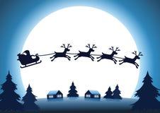 Schattenbildren mit Santa Claus-Fliege über Dorf nachts stock abbildung