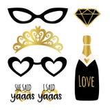 Schattenbildsatz Partei photobooth stützt Vektorelemente Champagne, Krone, Gläser, Diamant und Zeichen, die sie ja - auf Amerikan vektor abbildung