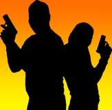 Schattenbildschießenpaare Lizenzfreies Stockfoto