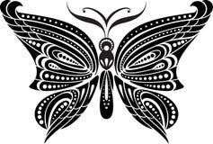 Schattenbildschmetterling mit empfindlichen Flügeln Schwarzweiss-Zeichnung Lizenzfreies Stockfoto