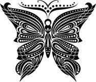 Schattenbildschmetterling mit offenem Flügel Tracery Schwarzweiss-Zeichnung Stockbilder