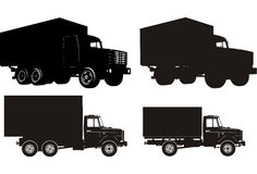 Schattenbildset des schweren LKW Lizenzfreie Stockbilder