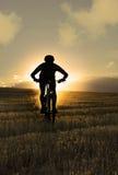 Schattenbildsportmann, der abschüssigen Reitcross country-Berg radfährt Lizenzfreie Stockfotografie