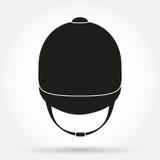 Schattenbildsymbol des Jockeysturzhelms für Reiten Stockfotografie