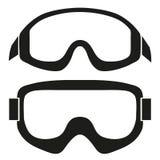 Schattenbildsymbol von klassischen Snowboardskischutzbrillen Stockfotos