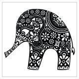 Schattenbildvektor des indischen Elefanten Lizenzfreies Stockbild