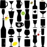 Schattenbildvektorset Flasche und Glas Lizenzfreies Stockbild