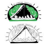 Schattenbildveränderungen von lustigen Campingzelten an Lizenzfreie Stockfotos