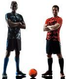 Schattenbildweißhintergrund der Fußballspieler Männer lokalisierter stockfoto