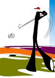 Schattenmann, der Golf spielt Stockbilder