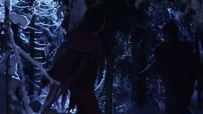 Schattenschattenbilder der Bewegung mit zwei Leuten im schneebedeckten Nachtwinterwald am Mondschein stock video footage