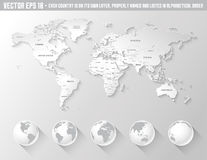 Schattierte Weltkarte des Vektors Grau Lizenzfreie Stockbilder