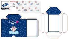 Schatullenmuster des blauen Kastens für das Schnitzen für den Feiertag der Liebe lizenzfreie abbildung