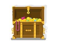Schatz-Kasten mit Goldmünzen lizenzfreie abbildung