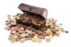 Schatz mit Euro-Münzen (Gesamtansicht) Lizenzfreies Stockbild