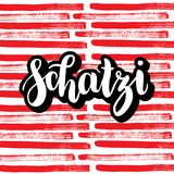 Schatzi - sweetheart in German. Happy Valentines day card, Hand-written lettering on colorful abstract background. Vector illustration Royalty Free Stock Photography