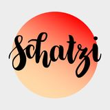 Schatzi - sweetheart in German. Happy Valentines day card, Hand-written lettering isolated on grey, red orange gradient. Circle. Vector illustration Royalty Free Stock Image