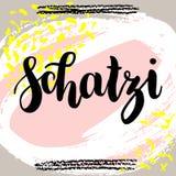 Schatzi - sympatia w niemiec Szczęśliwa walentynka dnia karta, Pisać literowanie na kolorowym abstrakcjonistycznym tle royalty ilustracja
