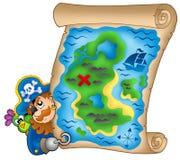 Schatzkarte mit lauerndem Piraten Lizenzfreie Stockbilder